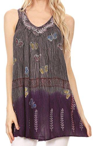Sakkas 93 - Chiara Two Tone Sleeveless V-Neck Tank Top Blouse - Purple - (Crinkle Cotton Sleeveless Top)