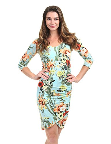 CTC WDR1354 Womens Print Tulip Bodycon Dress-Made In USA L Mint_Floral (California Floral Dress)