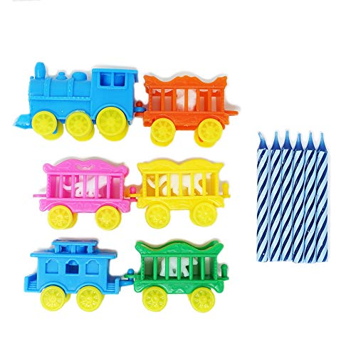 Vintage Animal Traveling Circus Train Birthday Party Cake & Cupcake Topper and Candle Set (1 Count) - Blue - Cake Birthday Train