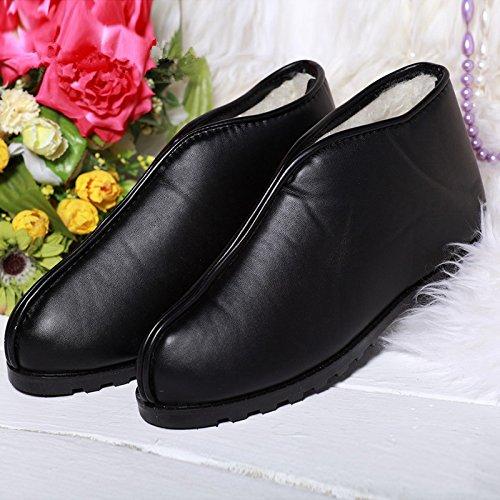Y-Hui Vecchio Uomo Inverno caldo scarpe per uomini e donne paio di pantofole di cotone impermeabile di slittamento stivali in pelle spessa scarpe con suole,43 (Fit per 42 piedi),Nero