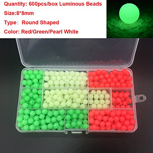 - 600pcs/box Colorful Luminous Glow Fishing Beads Eggs Kit 3 Colors Soft/Hard Glow Beads Fishing Lures Eggs Accessories Rigs Leaders (3 Colors-Round-Hard/Soft plastic-600pcs/box)