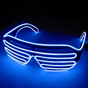 Dealgadgets EL Glasses El Wire Fashion Neon LED Light Up Shutter Shaped Glow Sun Glasses Rave Costume Party DJ Bright SunGlasses (Blue)
