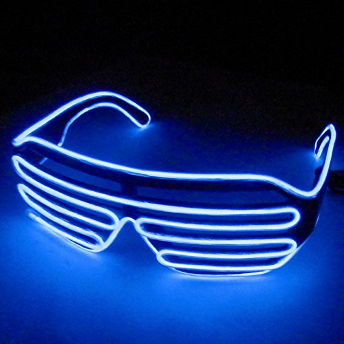 Dealgadgets EL Glasses El Wire Fashion Neon LED Light Up Shutter Shaped Glow Sun Glasses Rave Costume Party DJ Bright SunGlasses (Blue) (The Sun Costume)