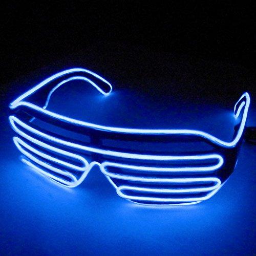 Dealgadgets EL Glasses El Wire Fashion Neon LED Light Up Shutter Shaped Glow Sun Glasses Rave Costume Party DJ Bright SunGlasses (Blue)