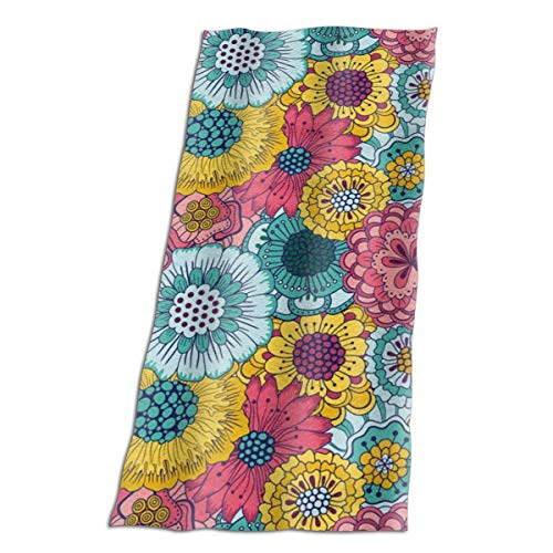 BshaidhSax Microfiber Women's Beach Towel Bath Towel with Colorful Dahlia Floral Blooming Country Nature