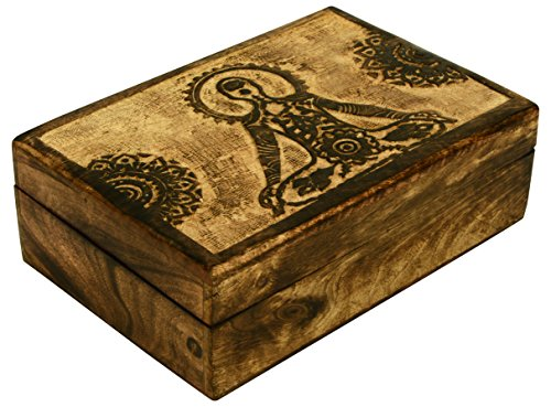 SAAGA Wooden Multipurpose Jewelry Box Keepsake Trinket Treasure Chest Storage Box with Yoga Mandala Carving | 10x7 inches (Box Storage Trinket)