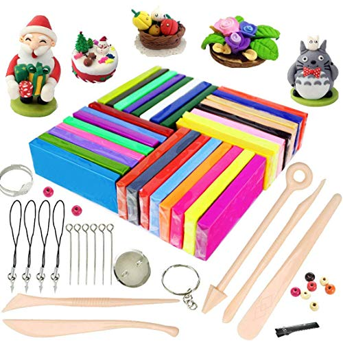 (ifergoo Polymer Clay, 32 Colors Oven Bake Modelling Clay, DIY Colored Clay Kit with Modeling Tools, Tutorials and Accessories)