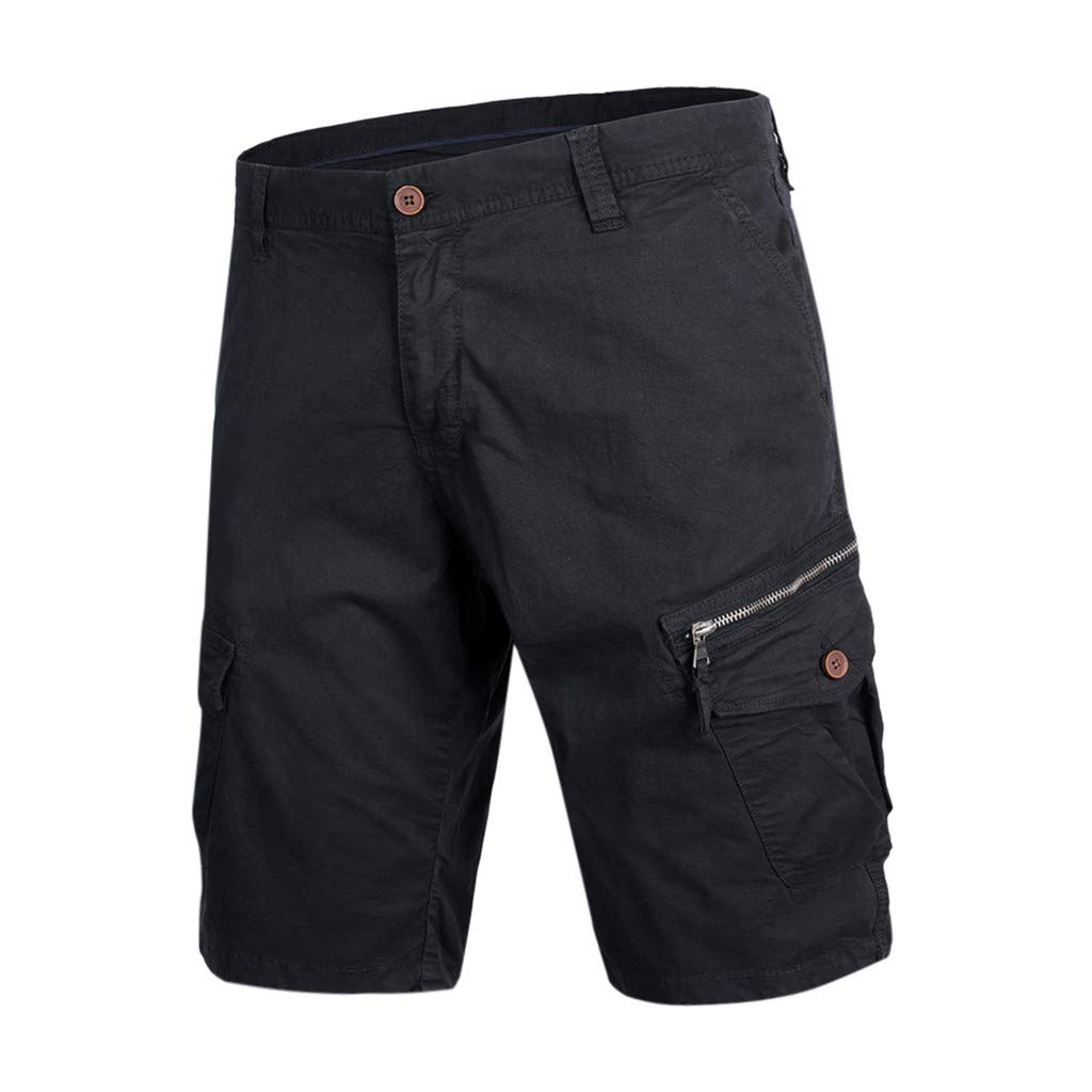 Men's Cotton Casual Cargo Shorts Loose Fit Outdoor Wear Elastic Waist Shorts with Pockets Black by Zainafacai_shorts