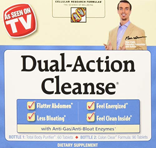 Action Tabs (Cellular Research Formulas - Dual-Action Cleanse - 60 Tabs Total Body Purifier + 90 Tabs Colon Clear)
