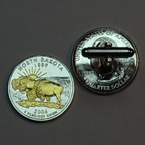 No. Dakota Statehood Quarter - Gorgeous 2 Toned(Uniquely Hand Done) Gold on Silver coin cufflinks for men - men's jewelry men's accessories for him groomsmen