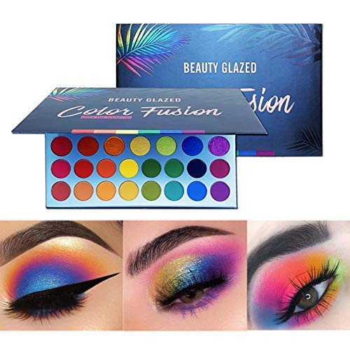 Halloween Eye Makeup Tutorial (Beauty Glazed High Pigmented Makeup Palette Easy to Blend Color Fusion 39 Shades Metallic and Shimmers Eyeshadow Sweatproof and Waterproof Eye)