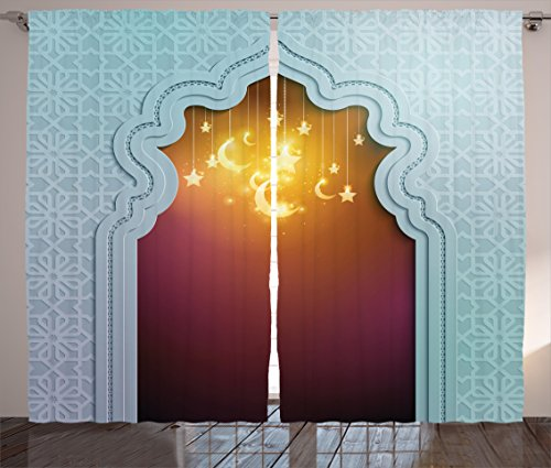 Cheap Ambesonne Moroccan Curtains, Door with Star and Moon Artistic Style Arabic Words Oriental Design, Living Room Bedroom Window Drapes 2 Panel Set, 108 W X 84 L Inches, Pale Blue Maroon Apricot