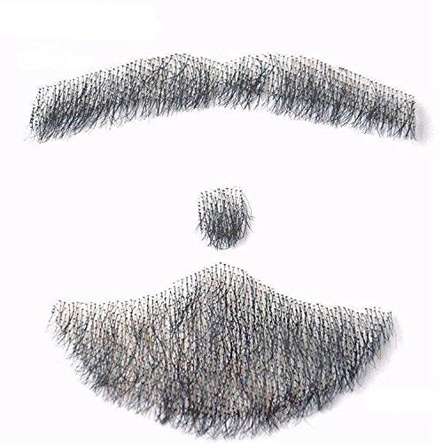 A Set Fake beard man mustache word simulation 100% Human Hair Full Hand Tied Fake Mustache Beard for Entertainment Party film Mode (Buy Fake Beards)