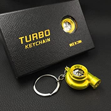 XiaoGao_ Creativo Llavero LED Llavero de Turbo,Amarillo ...