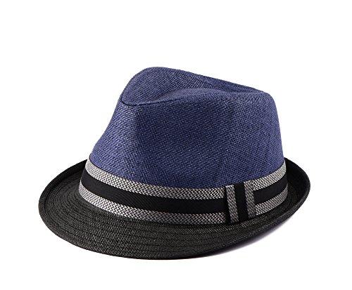 Miuno® Unisex Trilby Hut Herren Damen Partyhut Stroh Hut H51002 (Blau)