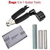 electric guitar repair kit - Xage 5 in 1 Guitar Tools - Full Set Guitar Bass Maintenance Kit Including 3 in 1 String Winder&Cutter/String Action Ruler Gauge Tool/Ukelele Bass Grinding Stone/Fingerboard Protector and Brush