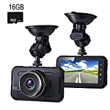 Dash Cam,with 16GB Card,EVASA 3.0' 1080P 150° Wide Angle Metal Shell Car On Dash Video with Night Vision,G-Sensor,WDR,Loop Recording Dashboard Camera Recorder