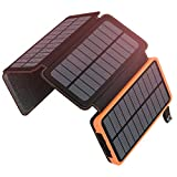 Solar Charger 25000mAh ADDTOP Portable Solar Power Bank with Dual 2.1A Outputs Waterproof External Battery Pack Compatible with Smart Phones, Tablets and More (92.5Wh 2018 Upgraded)