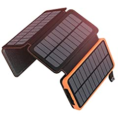 High Capacity (25000mAh) Solar Charger 25000mAh power bank can charge an iPhon e 6up to 12 times, a Galaxy S6 up to 7 times or an iPad Mini 3 about two times. There is no need to worry about your battery running out.Talk to your friends, play...