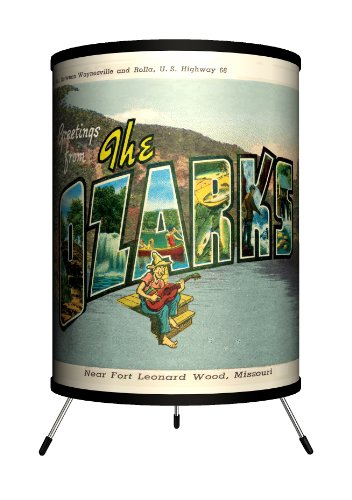 Lamp-In-A-Box TRI-TRV-THEOZ Travel - The Ozarks Postcard Tripod Lamp, 8.0'' x 8.0'' x 14.0'' by Lamp-In-A-Box