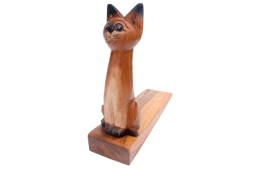 Design by UnseenThailand Decorative Wooden Door Stopper/Doorstop Holder Hand Carved in a Animal Shape Floor Blocker Closers. (Cat)