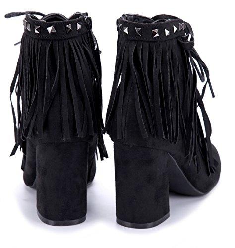 Schwarz Nieten Blockabsatz Stiefel Schuhtempel24 cm Damen Stiefeletten Schuhe Klassische Boots 9 4OvqF0O