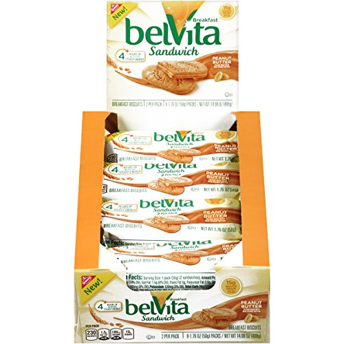belVita Peanut Butter Breakfast Biscuit Sandwiches (8 Count Box, 14.08 oz)