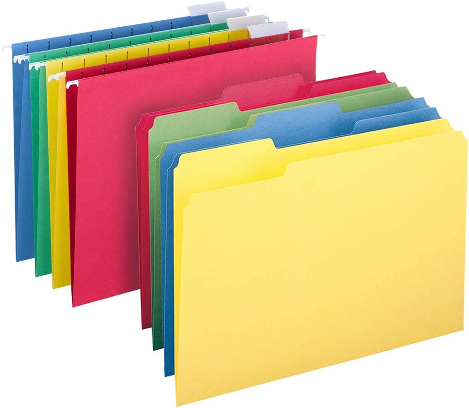 Smead Hanging File Folder Kit, Letter Size, Set of 24 Hanging File Folders and 24 Top Tab File Folders, Assorted Colors (Red, Yellow, Blue, Green)