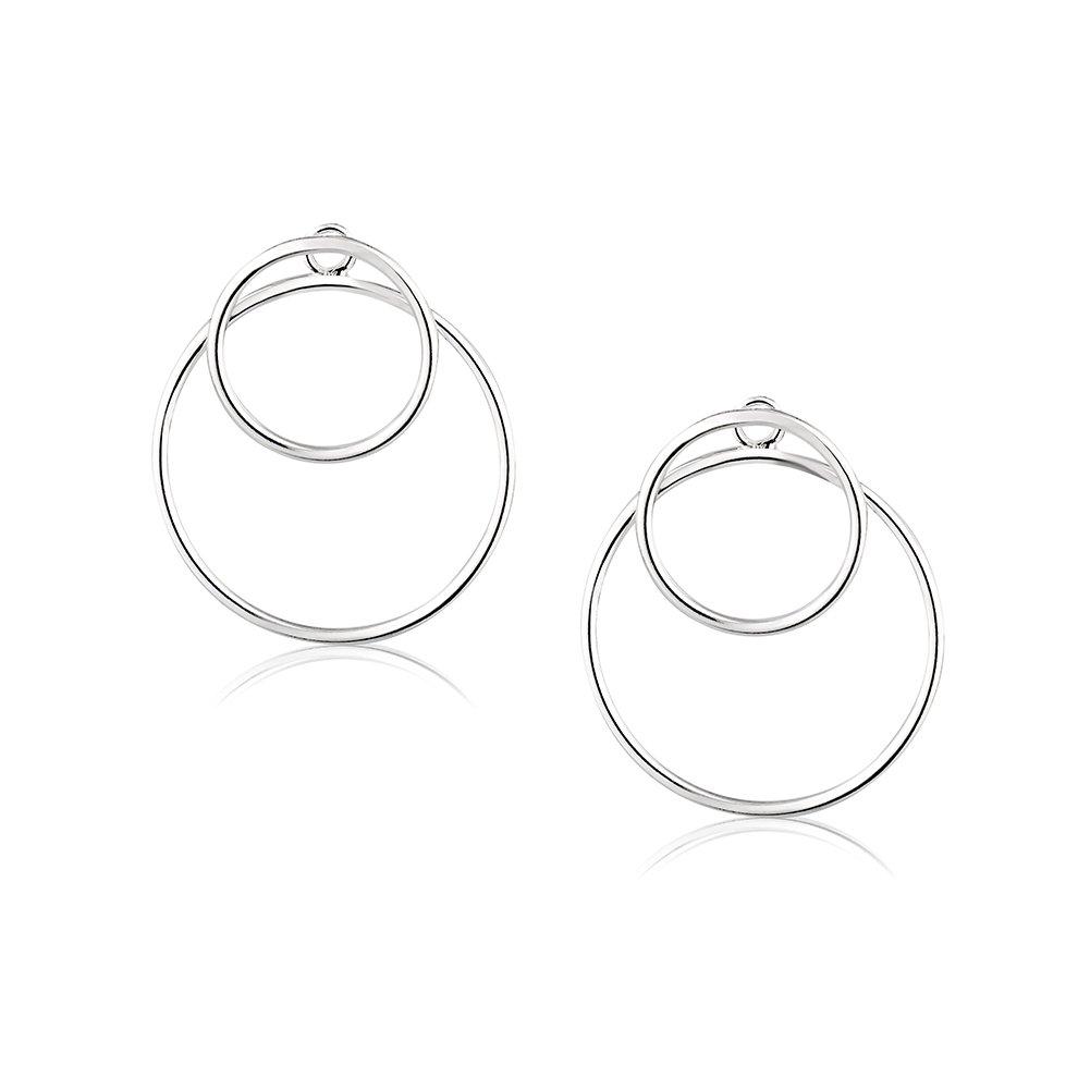 925 Sterling Silver Infinite Endless Open Rings Geometric Circle Statement Ear Jacket Earrings