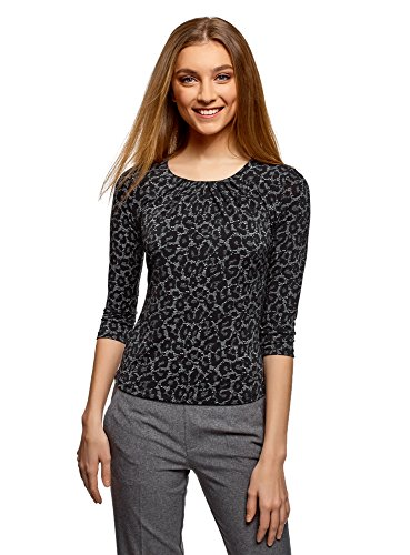 T Imprim Manches 3 Collection Femme 2329a oodji 4 Shirt Noir wEUxBHnFq