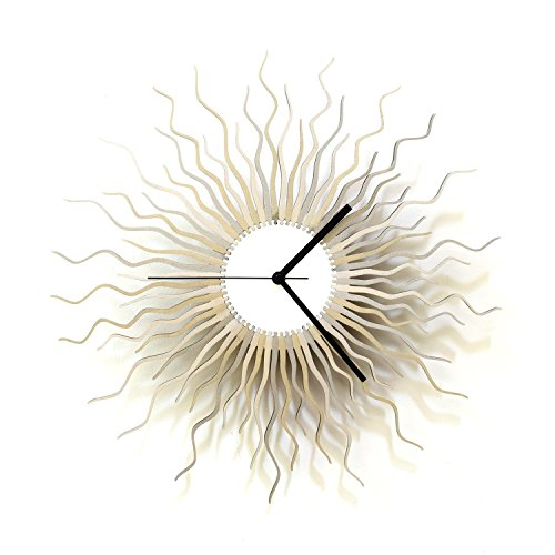 Large sized contemporary wooden wall clock in shades of silver, a piece of wall art - Medusa silver L