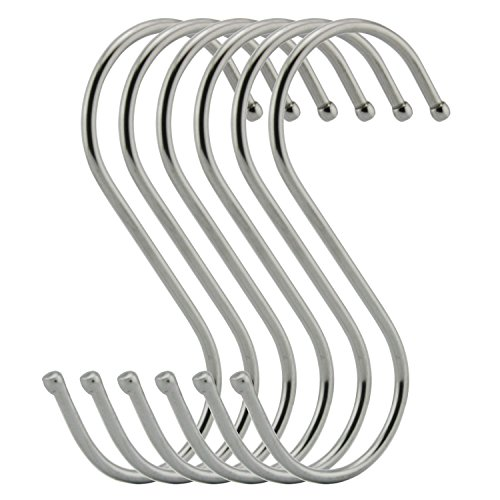 RuiLing 6-Pack 4.7 Inches Extra large S Shape hooks,Heavy-duty Stainless Steel Hanging Hooks - Multiple uses,Ideal for Apparel, Kitchenware, Utensils, Plants, Towels, Gardening Tools.