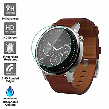 KAIBSEN Motorola Moto 360 2nd Generation 42/46mm Smart Watch 2.5D protector de pantalla de vidrio templado, HD Clear film de vidrio no-burbuja, 9H ...