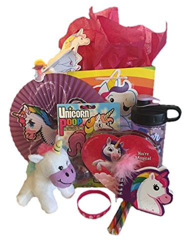 Unicorn Valentines Day Gifts Set – Unicorn Plush Stuffed Animal, Water Bottle, Unicorn Poo, Toys, Chocolates, Candy, and More. Perfect Gift for Girls Age 6-12. 10 Piece Gift Bundle.