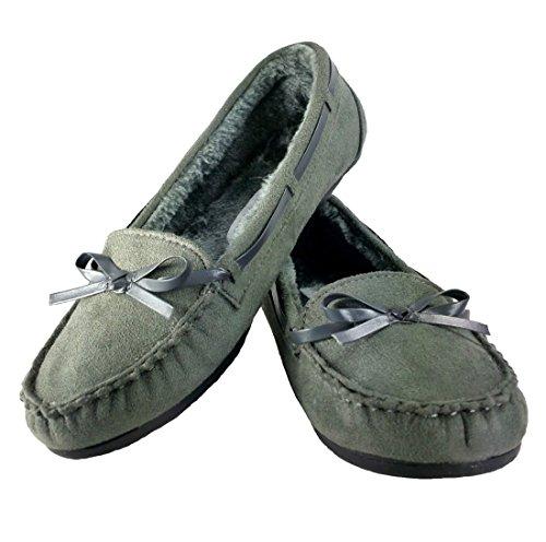 Wells Elegante Womens Casual Faux Suede Mocassin Loafers Flats Schoenen (8, Grijs)