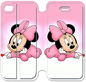 IPhone de Funda Apple 4 4s Funda del tirón del cuero de la PU del caso del soporte de la cubierta protectora, Imagen Bricolaje De B6W4UH disney mickey mouse Minnie Mouse C5C2J Para el caso del Funda iPhone 4S Funda