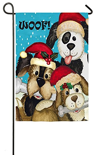 Evergreen Suede Christmas Dogs Garden Flag, 12.5 x 18 inches