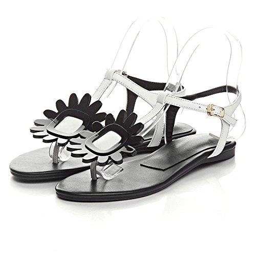 plat mot version coréenne Noir perle orteil été du élégantes chaussures mode fleur boucle sau 2017 clip nouvel wxvXAHIq