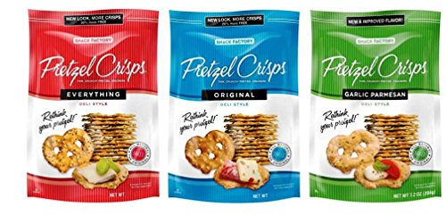 Snack Factory Deli Style Pretzel Crisps 3 Flavor Variety Bundle, (1) each: Everything, Original, Garlic Parmesan (7.2 - Pretzel Garlic