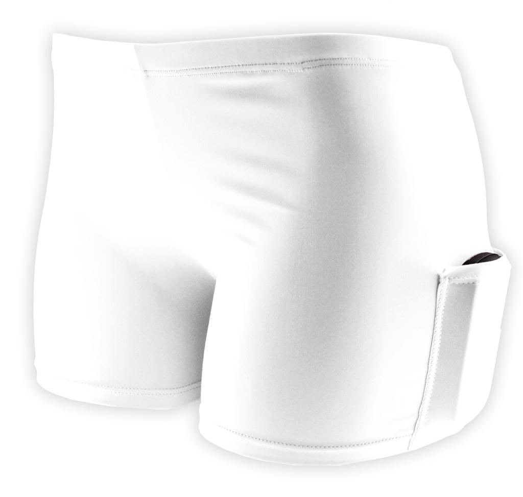 Tuga Spandex Shorts w/ Pocket, 2.5'' Inseam, White, X-Large by Tuga Sportz