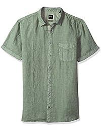 Boss Orange Men's Short Sleeve Garment Dyed Linen Shirt