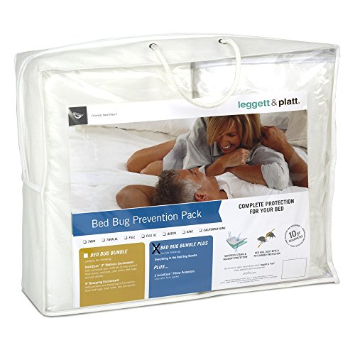Leggett & Platt Sleep Calm 5-Piece Bed Bug Prevention Pack Plus with Pillow Protectors, Mattress and Zippered Box Spring Encasement, California ()