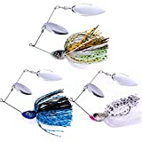 SUNMILE Fishing Hard Spinnerbait Lures Double Willow Blade Spinner Baits Bass Pike Metal Fishing Lure Pack 3pcs (Mixcolor spinnerbait 1/2oz)