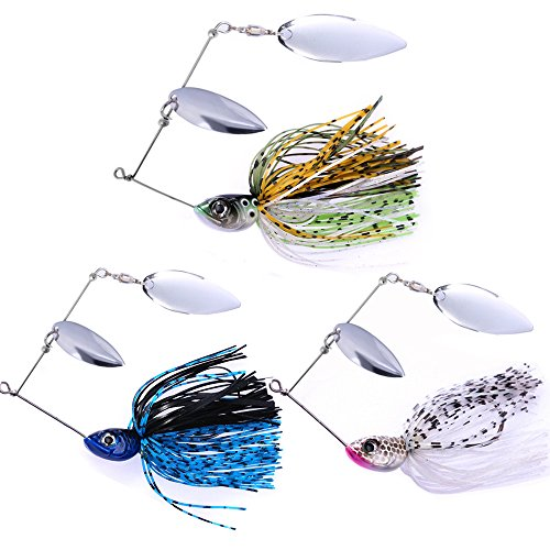 Sunmile Fishing Hard Buzzbait Spinnerbait Lures Double Willow Blade Spinner Baits for Bass Pike Metal Jig Fishing Lure Pack of 3pcs (Mixcolor spinnerbait 1/2oz) Bass Spinner
