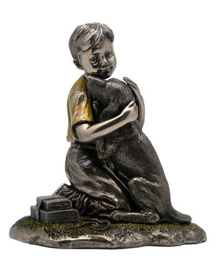 5 Inch Figurine Back From School Boy Hugs Dog Polished Bronze Hued