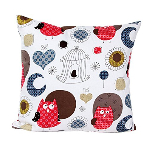 Owl 2 Embroidery (Ikevan Charming Pattern Sofa Bed Home Decor Pillow Case Cushion Cover(18