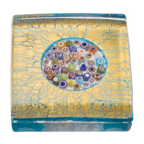 Eccolo Genuine Murano Glass Paperweight, Embedded with 24k Gold, Millefiori Circle