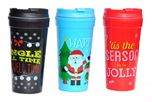 Hot Cocoa Coffee Tea Snowman Santa Holiday Christmas Travel Mugs SET of 3 Christmas Teacher Kids Boys Girls Gift - Teen Tea Party Hostess Costumes