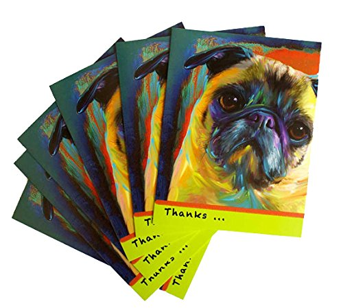 Set of 6 Pug Greeting Cards Thank You