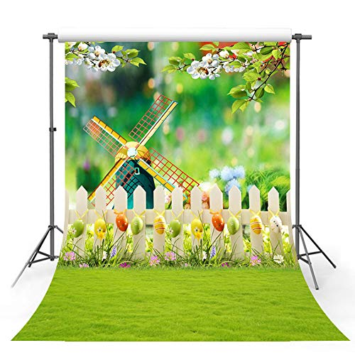 MEHOFOTO Happy Easter Photography Backdrop Colorful Eggs Garden White Flowers Windmill Grass Kid Bokeh Photo Studio Booth Background 5x7ft ()